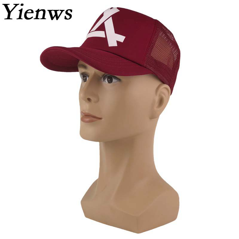 Yienws Mesh Trucker Cap for Men Women Bones Masculino Casquette Homme Youth Summer Baseball Cap Trucker Hats YIC474 шапка детская dc label youth hats dark shadow heather