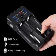 PALO USB smart 18650, cargador con función de Banco de energía para NIMH/NICD A AA AAA SC 18650 26650 14500, baterías recargables de iones de litio