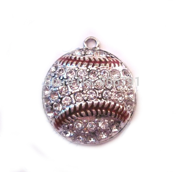 Efficient 100pcs A Lot Antique Silver Color Zinc Alloy Studded With Sparkling Baseball Crystal Pendant
