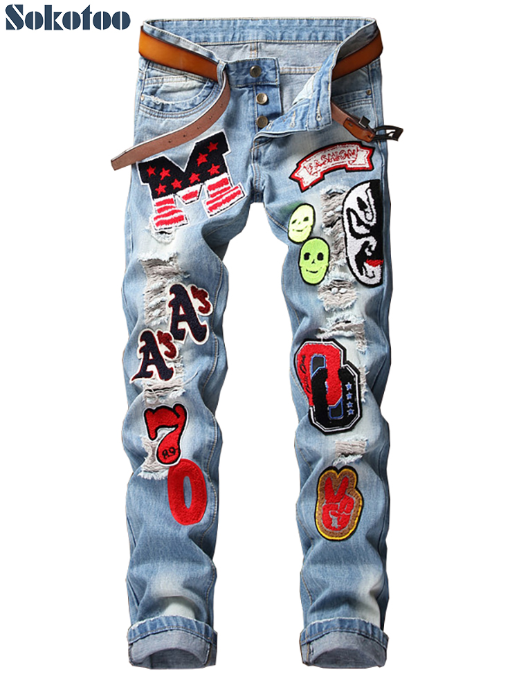 Sokotoo Men's badge patches buttons fly slim   jeans   Trendy light blue holes ripped distressed denim straight pants