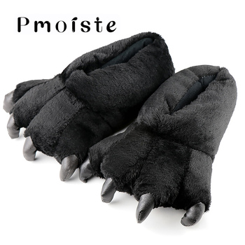 Women slippers Large size 39-46 ladies home fashion totem bear claws corduroy solid synthetic funny woman shoes