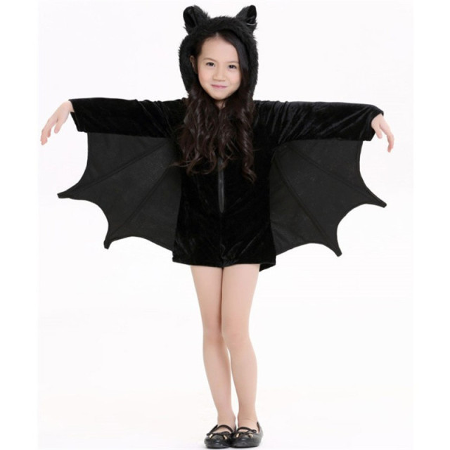 Takerlama Halloween Purim Carnival Kids Adults Black Bat Vampire Costumes Children Short Cosplay Costume Jumpsuits