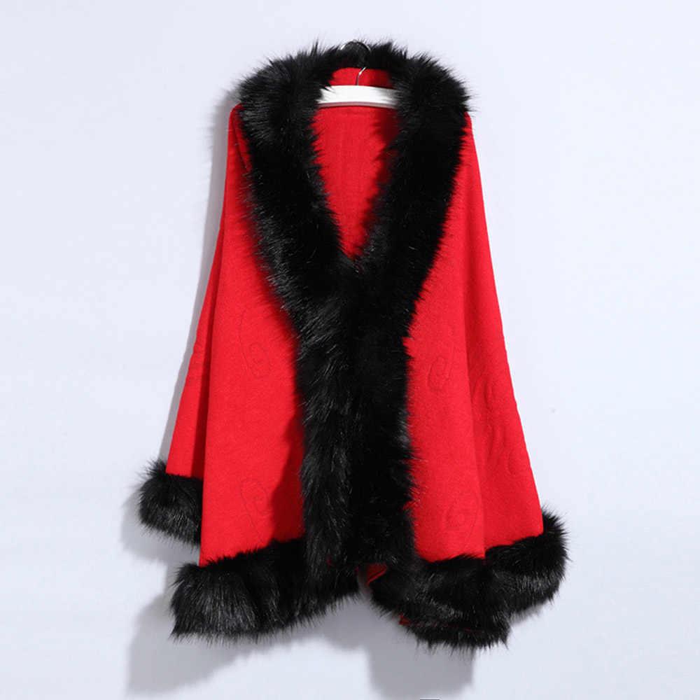 Bohoartist/повседневное пальто-накидка для женщин, зима 2019, рукав «летучая мышь», воротник из искусственного меха лисы, Элегантный Модный кардиган, плащ-пончо