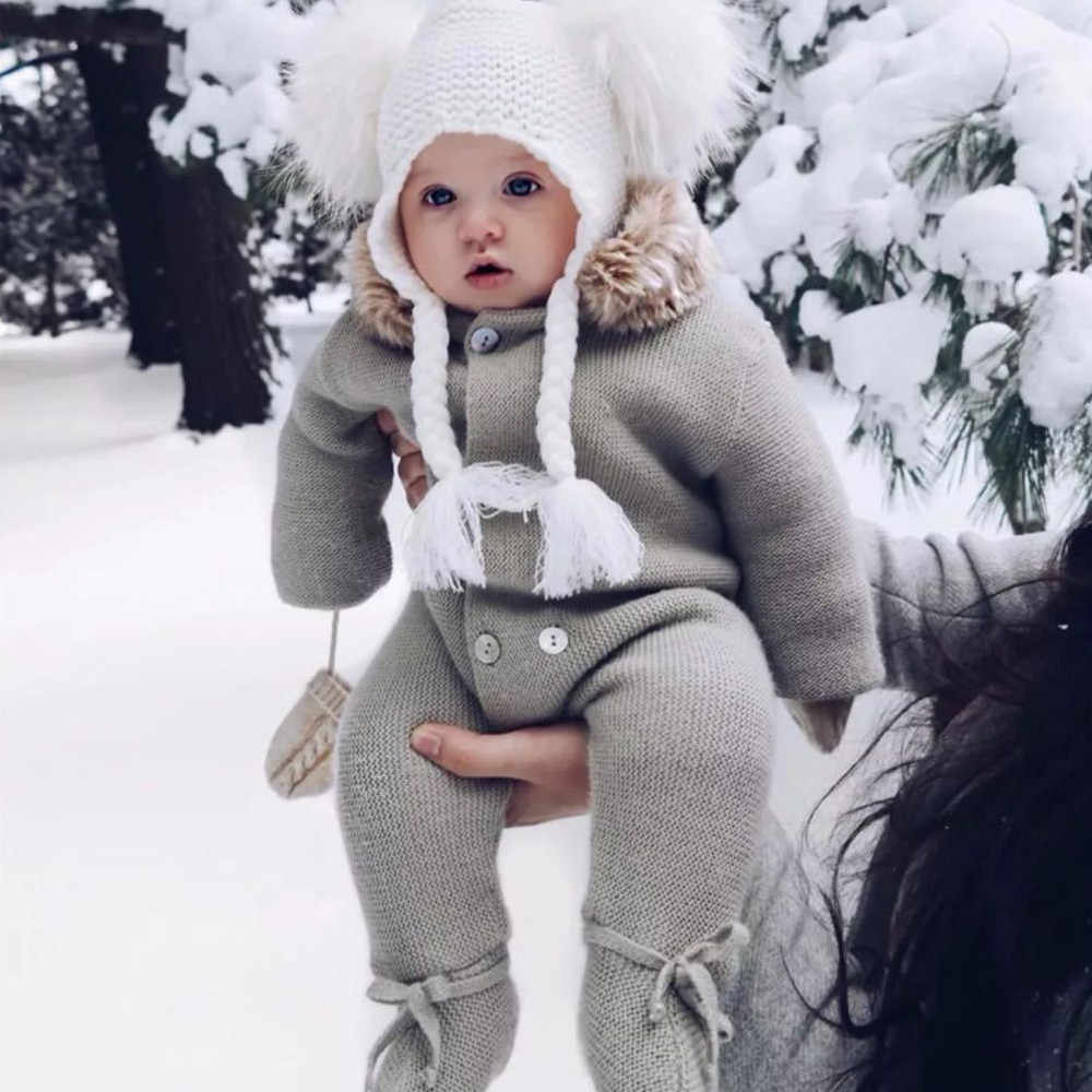 3ece84f133ed ... Infant Baby Rompers Winter Clothes Newborn Baby Boy Girl Knitted  Sweater Jumpsuit raccoon Fur Hooded Kid ...