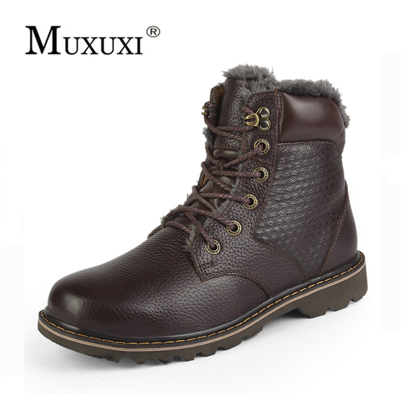 High quality winter Genuine Leather Men snow boots brand Fashion Model lace up Causal ou ...