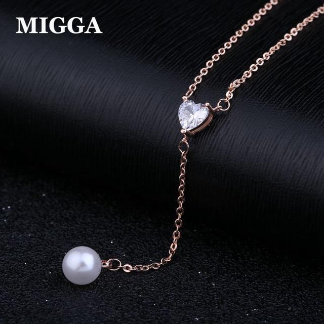 MIGGA Rose Gold Color Sweet CZ Crystal Heart Imitation Pearl