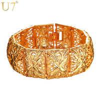 U7 Vintage gros Bracelets homme/femme argent/or couleur fleur bijoux de mariage en gros 2017 nouveau chaud gros gros Bracelets H1003
