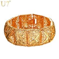 U7 Vintage Cuff Bracelets Male Female Yellow Gold Plated Flower Wedding Jewelry Wholesale 2017 New Hot