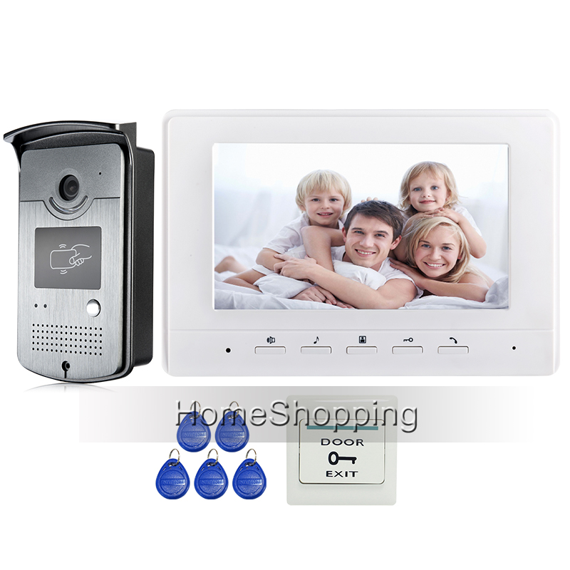 FREE SHIPPING 7 Screen Video Intercom Door Phone System + 1 White Monitor 1 Outdoor RFID Card Reader Doorbell Camera Wholesale free shipping 7 video intercom video door phone system with 1 monitor 1 rfid card reader hd doorbell camera in stock wholesale