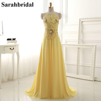 Sexy Open Back Spaghetti Straps Prom Dresses 2016 Real Photo Yellow Crystal Beads Sequins Chiffon Long