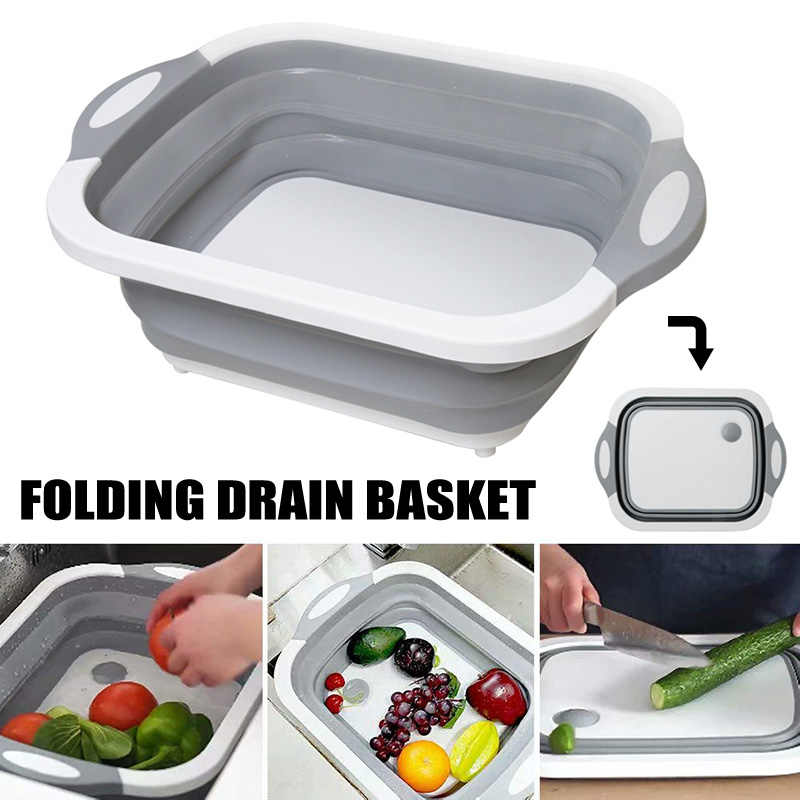 Multifunction Collapsible Cutting Board Drain Basket Vegetable Basin Portable Tub For Kitchen Fruit Vegetable Washing