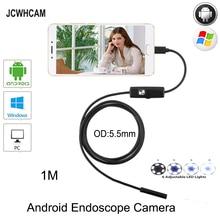 JCWHCAM 5.5mm MircoUSB Android OTG USB Endoscope Camera 1M  Waterproof Snake Pipe Inspection Android USB Borescope Camera цена в Москве и Питере