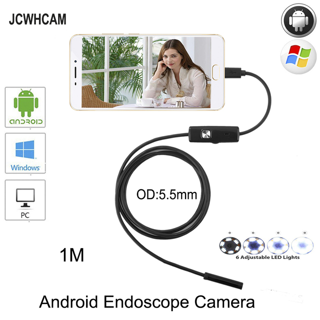 JCWHCAM 5.5mm MircoUSB Android OTG USB Endoscope Camera 1M  Waterproof Snake Pipe Inspection Android USB Borescope Camera