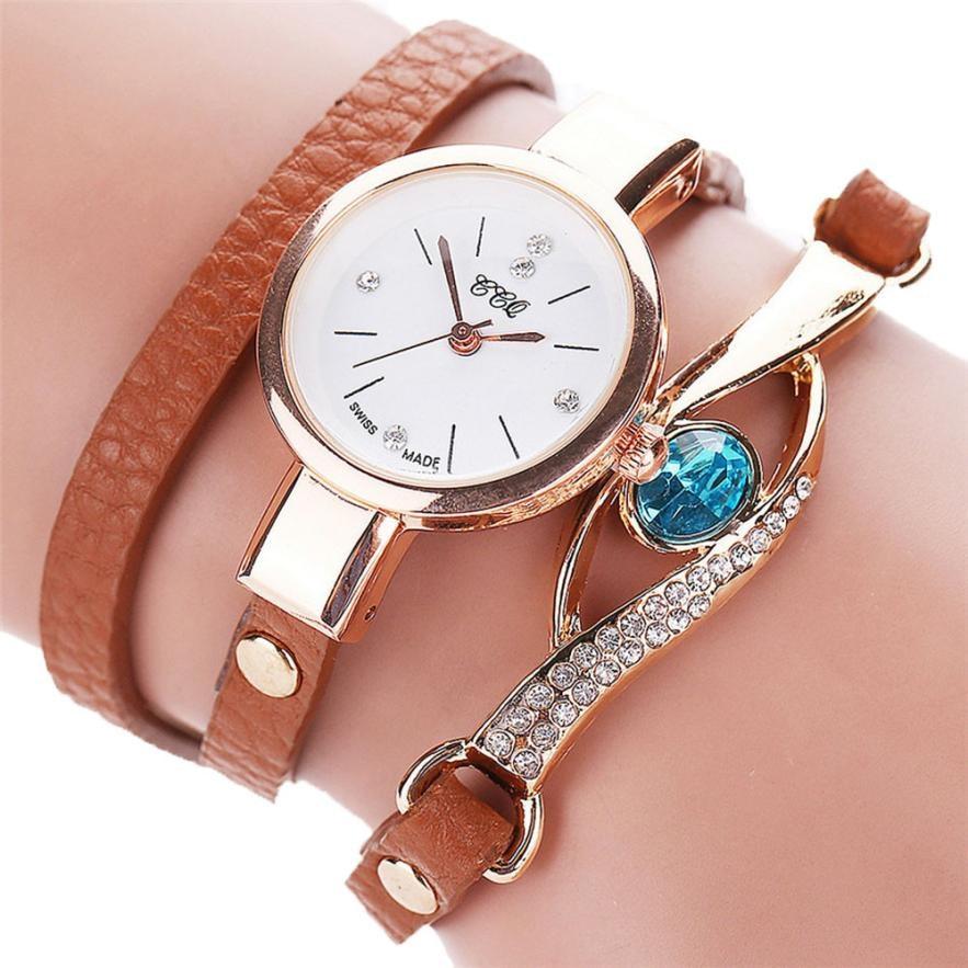 2018 Hot sale Womens Fashion Casual Rhinestone Analog Quartz Watch Bracelet elegant ladies dress Wrist Watches female clock
