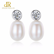 DR Brand Charm Simple 925 Sterling Silver Pearl Stud Earrings For Women Engagement Jewelry Accessories