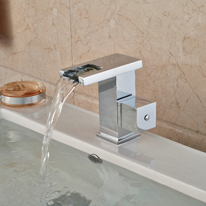 ФОТО Slices Style Waterfall Chrome Bathroom Basin Faucet Square Handles Vanity Sink Mixer Tap