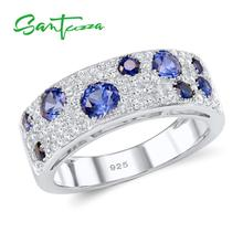 SANTUZZA Silver Rings For Women Authentic 925 Sterling Silver Sparkling Blue Nano Cubic Zirconia Trendy Fashion Jewelry cheap 925 Sterling CN(Origin) GDTC Fine Prong Setting R306887BLNZSL925 ROUND Wedding Bands Party Rings Silver 925 Metal Rings