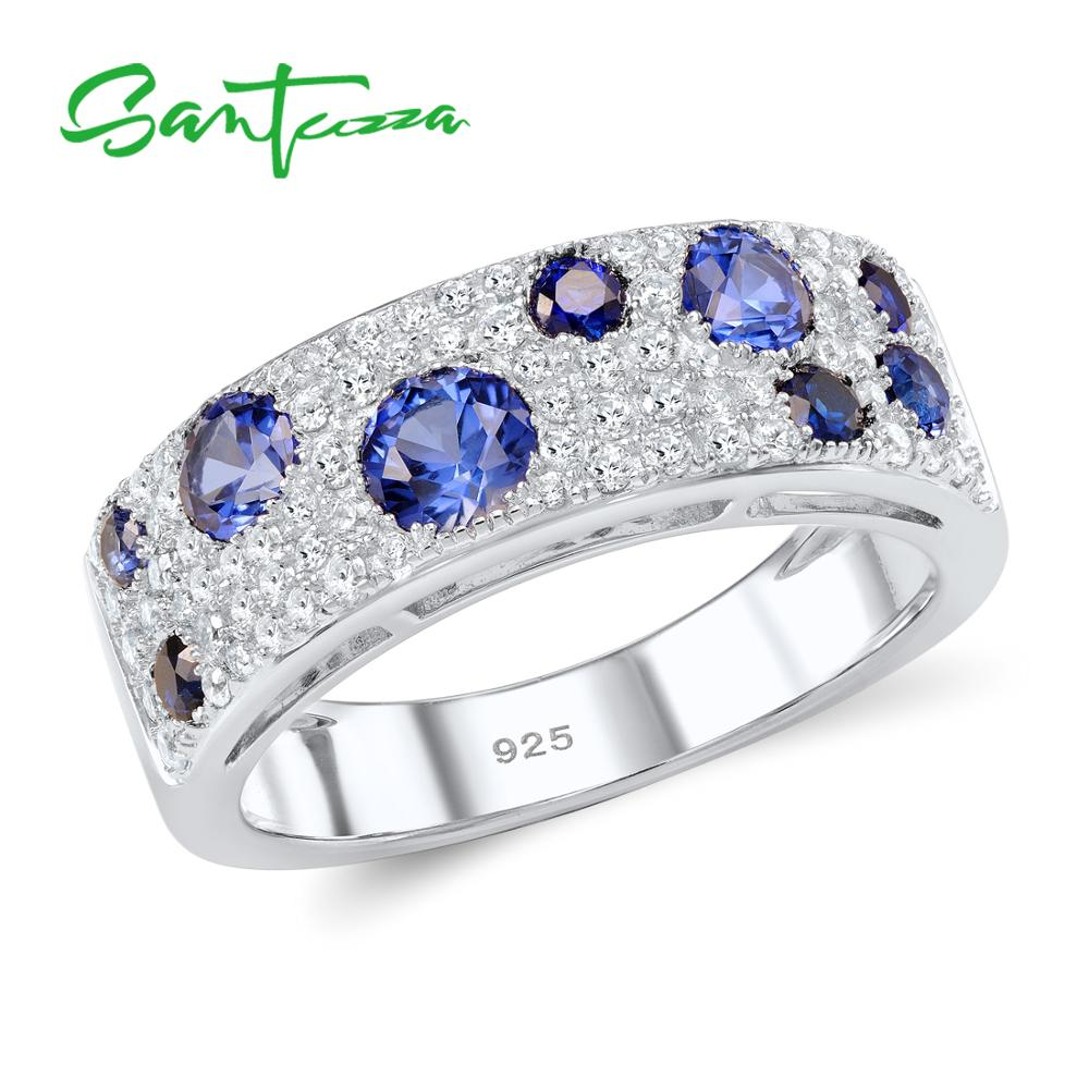 SANTUZZA Silver Rings For Women Authentic 925 Sterling Silver Sparkling Blue Nano Cubic Zirconia Trendy Fashion Jewelry