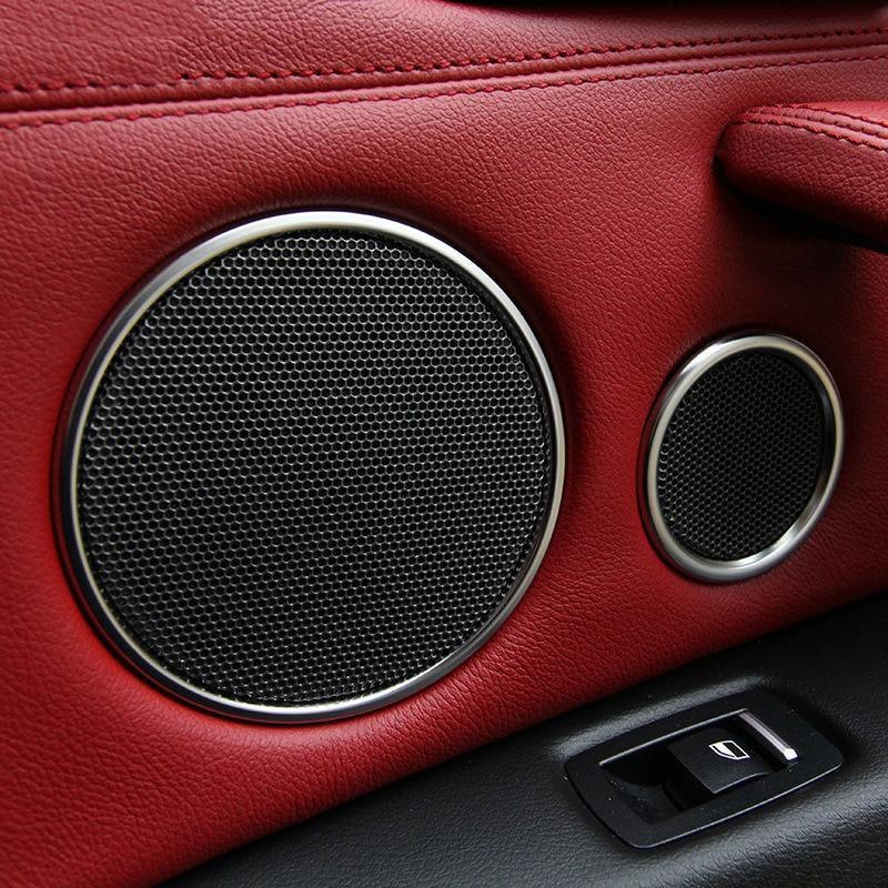 Chrome Door Audio Speaker Sound Horn Decoration Trim Ring Sticker For BMW X5 f15 X6 f16 2014 2015 2016 Accessories Car Styling