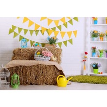 Laeacco Happy Easter Day Flags Chick Haystack Brick Wall Home Decor Scene Photography Backdrop Photo Background For Photo Studio laeacco easter haystack flowers chicks easter lamp baby children photography background customized backdrop for photo studio