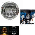 "7"" LED Headlight for Harley Davidson Motorcycle Chrome Round Projector Daymaker Hi/Lo Beam"