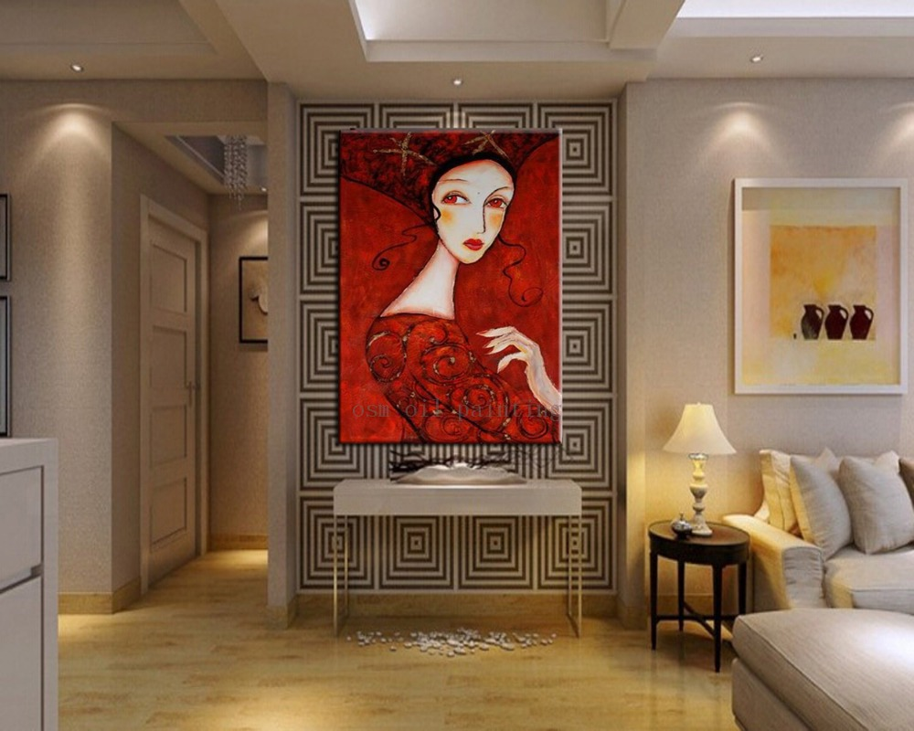 Handmade Modern Portrait <font><b>Women</b></font> <font><b>Hot</b></font> Sex Image Canvas Painting Hand Painted Abstract Wall Art <font><b>Sexy</b></font> Lady in Red <font><b>Dress</b></font> Oil Paintings image