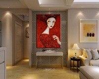 Pintura Da Lona Moderna Handmade Retrato Mulheres Imagem Sexo Quente Mão Óleo pintado Arte Da Parede Abstrato Sexy Vestido de Dama de Vermelho pinturas