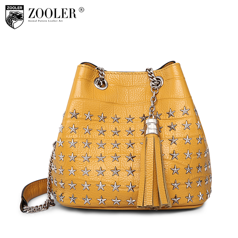 losing money woman bag!2018 new ZOOLER genuine leather bag quality metal stars designed shoulder bags bolsa feminina#B102 zooler 2017 new quality