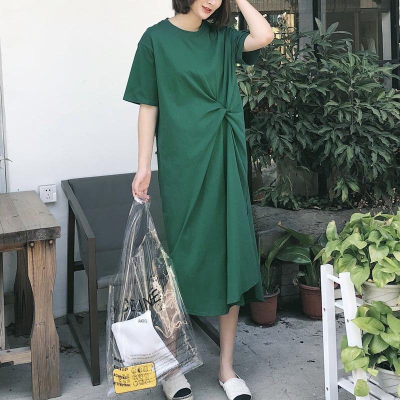 [AZURESHEN] New Summer 2018 Fashion green Round neck short-sleeved T-shirt type pleated big size loose dress women QD477