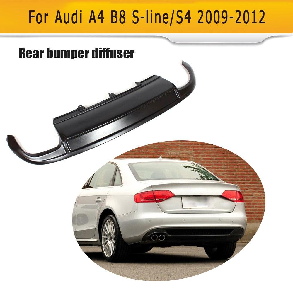 FRP Black Rear Bumper diffuser Lip For Audi A4 B8 Sline S4 Sedan Only 09-12