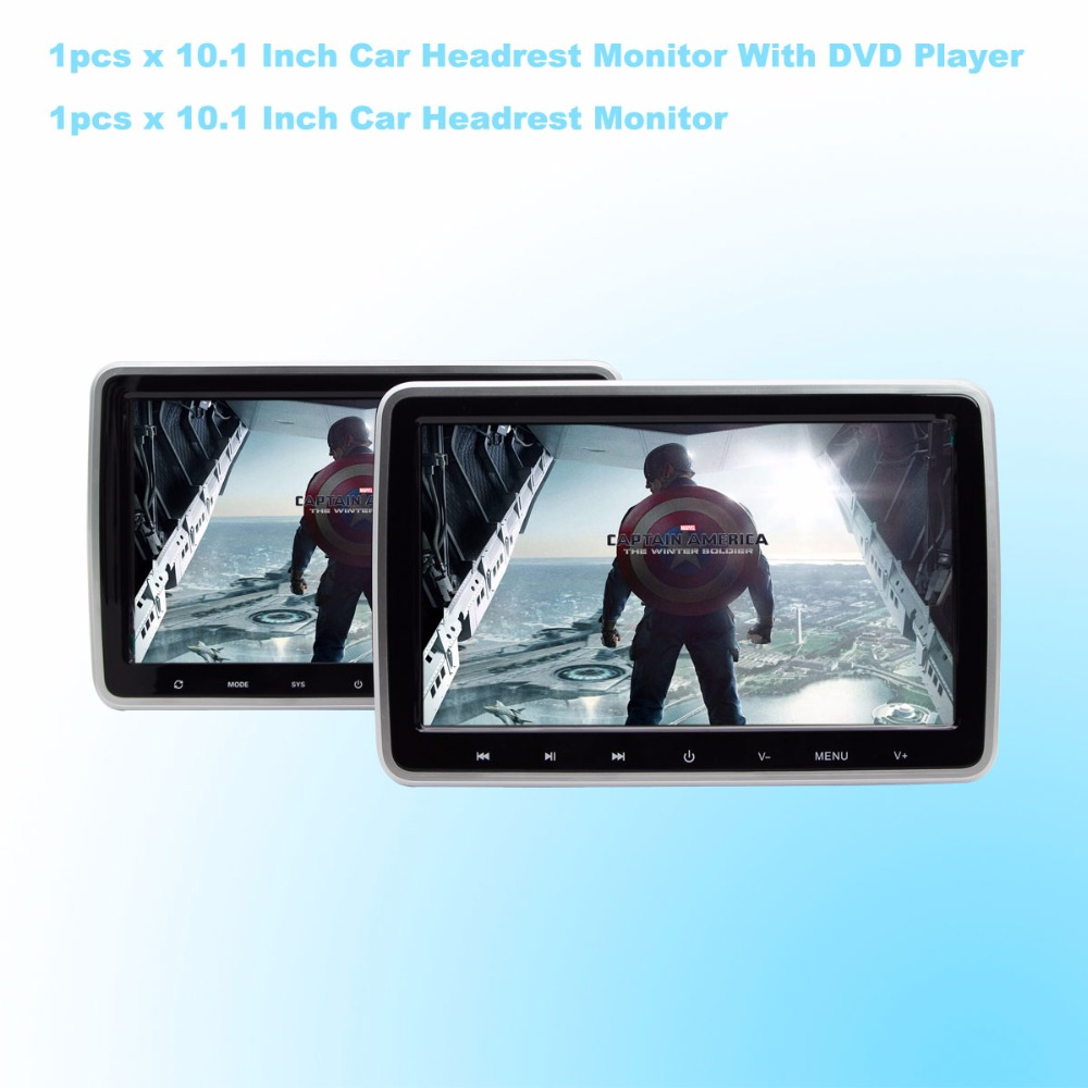 Car DVD Player Headrest Monitor 10.1 Inch 1024*600 LCD Monitor Headrest DVD Player USB/SD/HDMI/FM Touch Button Game - One Pair car headrest pole mounted hook grey pink pair