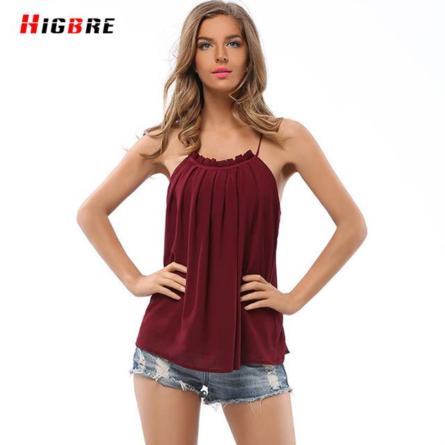 New Casual Sexy Plus Size Vest Camisole Top curto Mulheres Topos de Chiffon 2016 Mulheres Verão Camisa Sem Mangas Cor Sólida Alta qualidade