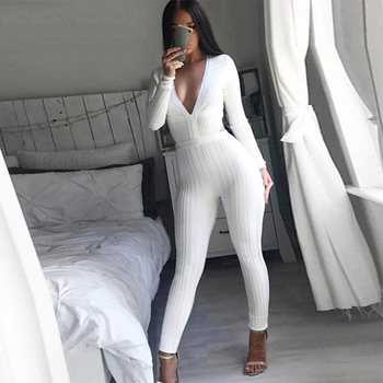 Celebrity Party White Long Sleeve V-Neck Sexy Backless Women Bodycon Runway Bodysuit