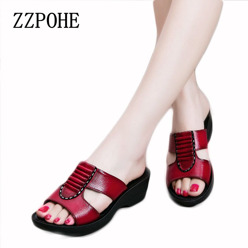 ZZPOHE Summer new mother slippers fashion ladies slippers soft and comfortable casual large size shoes Woman Slope with slippers 70cm ladies wigs ice and fire song dragon mother synthetic hair