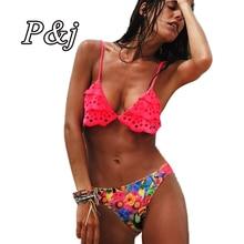P&j Sexy Bandeau Bikini Bandage Swimwear Push Up Padded Bra Swimsuit Hollow Out Floral Tassel Bathing Suit Brazilian Swim Suit