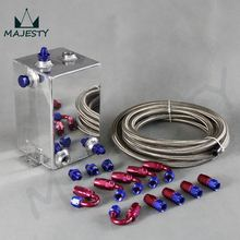 4L Aluminium Universal Complete 6AN Fuel Surge Tank 4 Litre Swirl Port+5m fuel/oil line+hose end / adapter System blue and red
