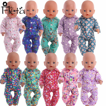 Doll Clothes Multi-color Print Pajamas Set for 18-inch American Dolls or 43 cm  Baby Born Doll Best Gift for Kids  pajamas