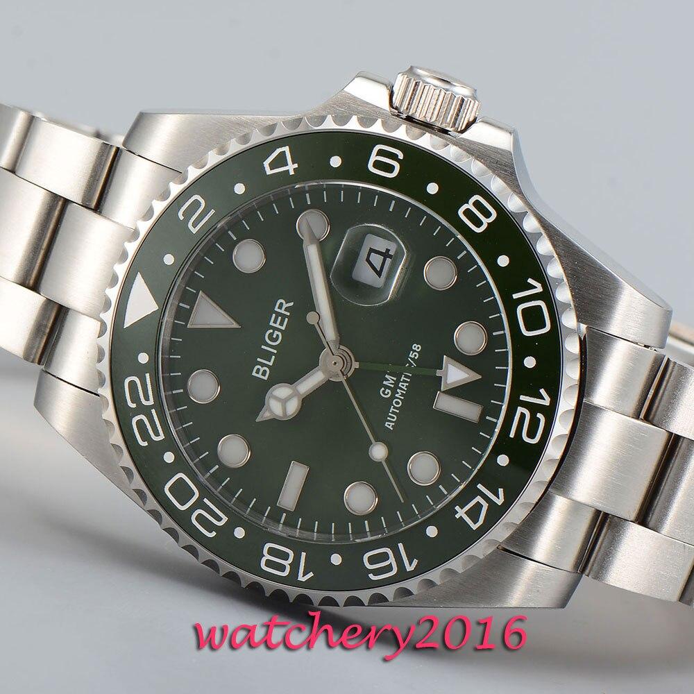 Fashion 43mm Bliger sapphire glass green dial date green ceramic bezel GMT Automatic movement Men s