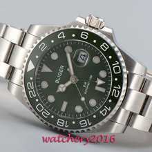 Fashion 43mm Bliger sapphire glass green dial date green ceramic bezel GMT Automatic movement Men s