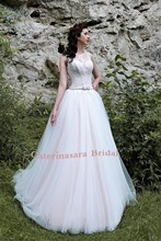 цена на Lace Wedding Dress Corset Illusion A Line Neckline Closed Back with Button Bride Gown