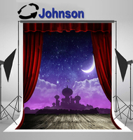 wall background High quality Computer print Night Sky Crescent Moon Aladdin Red Curtain Stage Natural Rustic Wood backdrop