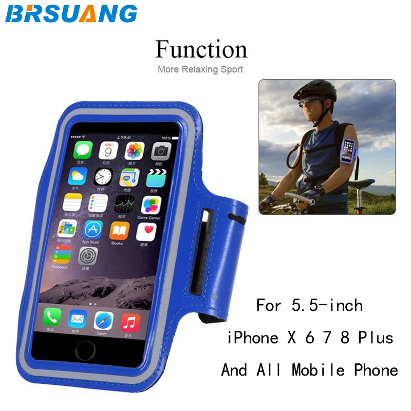 100pcs/lot Brsuang 5.5 Inch Phone Case Sport Armband Waterproof Leather Brassard Gym Running Arm Band For Iphone X 6 6s 7 8 Plus Armbands
