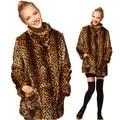 Новая Европейская зима шуба леди Leopard Искусственного Меха имитация Пальто мех енота норки волос
