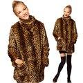 El nuevo invierno Europeo fur coat de señora Leopard Faux Abrigo de Piel de imitación de pelo de visón de piel de mapache