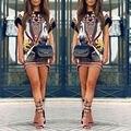 Las mujeres vestidos de verano 2017 de manga corta mini vestidos de las señoras de la vendimia estampado geométrico mujeres retro casual dress plus size ropa
