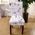 2PCS Printing Spandex Elastic Dining Chair Cover Machine Washable Restaurant For Weddings Banquet Hotel Chair Covering 42 colors