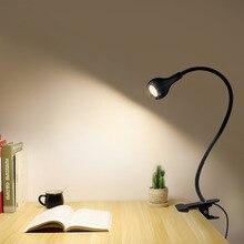 Светодиодный настольный светильник с прищепкой и питанием от USB, Гибкая Настольная лампа для учебы и чтения, прикроватный светильник для спальни и книг