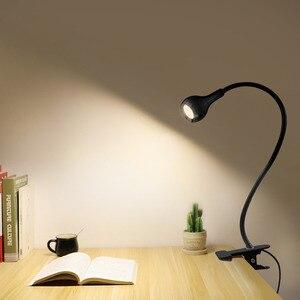 Image 1 - Lámpara Led de escritorio con Clip y alimentación USB, luz de noche Flexible, lámpara de mesa para estudio, lectura, cabecera, dormitorio, iluminación de libros