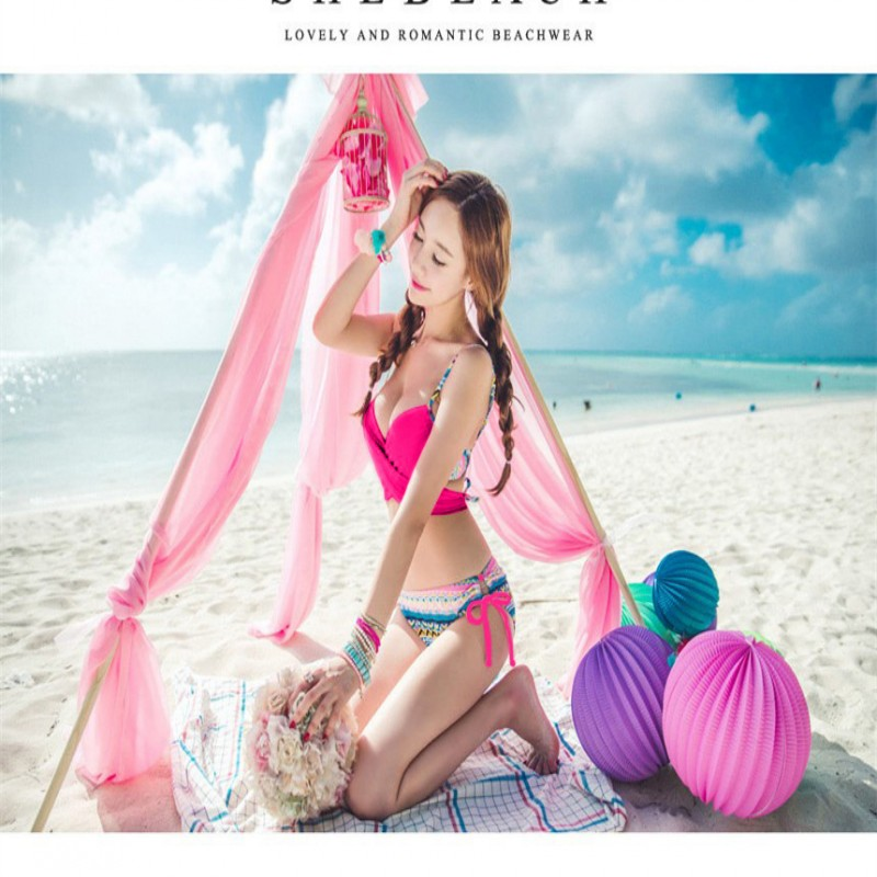 2017 New Arrival Women Push Up Padded Bikini Set Three Pieces Swimwear Swimsuit Bathing Suit Beach Wear Bathing Wear