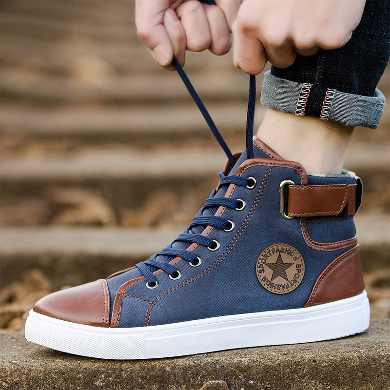 Fashion Lace Up Men's Casual Shoes Big Size 46 47 Ankle Boots High-top Men Shoes Couple Sneakers Adult Male Walking Footwear